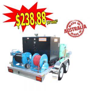 Steamaster 2121 SilentMaster Hot Water Pressure Washer Galvanized Trailer Mounted 45588