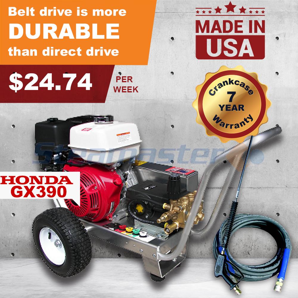Honda GX390 13 Horsepower Steamaster Hurricane 1528E Belt Drive Petrol Pressure  Washer 4200 PSI @ 15 Litres Per Minute (Electric Start), ...
